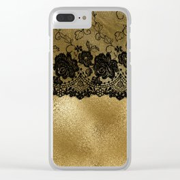 Black luxury lace on gold glitter effect metal- Elegant design on #Society6 Clear iPhone Case