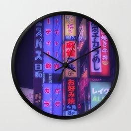Neon kanji in tokyo Wall Clock