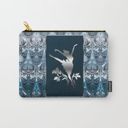Silver ballerine luxury royal floral blue pattern Carry-All Pouch