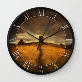 Lonely house on the hill Wall Clock