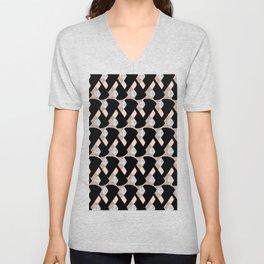 Weave me alone // pink, black + polka dot knit camo pattern Unisex V-Neck
