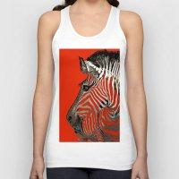 zebra Tank Tops featuring Zebra  by Saundra Myles