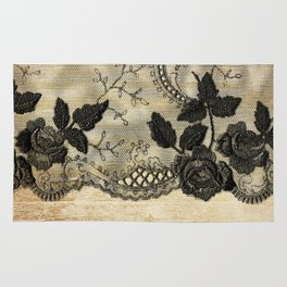 Black floral lace on wood  -Elegant and luxury design for women Rug