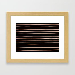 Pratt and Lambert Earthen Trail 4-26 Hand Drawn Horizontal Lines on Black Framed Art Print