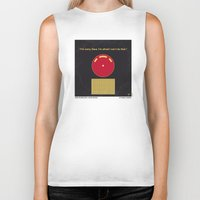 2001 a space odyssey Biker Tanks featuring No003 My 2001 A space odyssey 2000 minimal movie poster by Chungkong