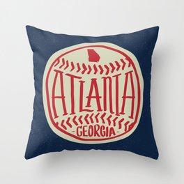 Atlanta Georgia Baseball - Hand Drawn, Script Typography Throw Pillow