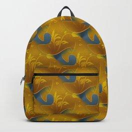 Golden Diamond Leaf pattern Backpack