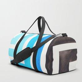 Cerulean Blue Minimalist Inca Geometric Mid Century Modern Watercolor Pattern Maze Duffle Bag