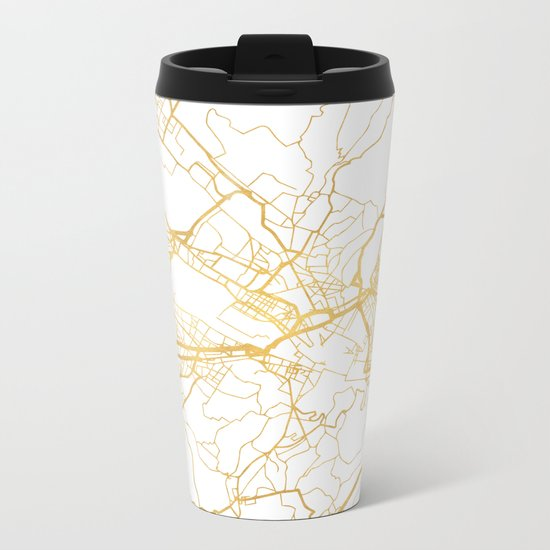 FLORENCE ITALY CITY STREET MAP ART Metal Travel Mug