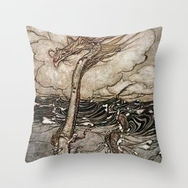 """Sea Serpent"" by Arthur Rackham Throw Pillow"