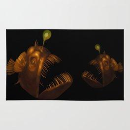 Deep Sea Anglerfish Watercolor Rug