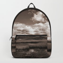 Minimal Monochrome Lake Scape Backpack
