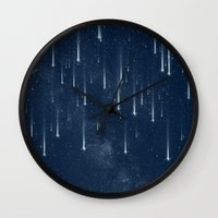 stars Wall Clocks featuring Wishing Stars by Paula Belle Flores