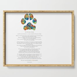 Rainbow Bridge Poem With Colorful Paw Print by Sharon Cummings Serving Tray