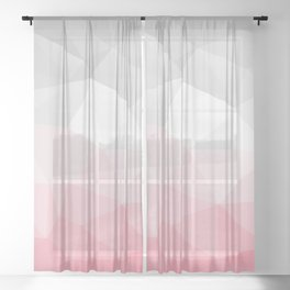 pink and grey polygon 2018 Sheer Curtain