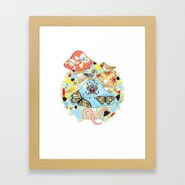 Poisonous mushroom and twitter of sparrows (remake) Framed Art Print