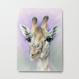 Giraffe Portrait with Beautiful Eyes Metal Print