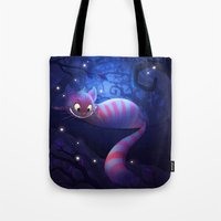 cheshire cat Tote Bags featuring Cheshire Cat by Chelsea Kenna