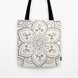 Vintage navy blue ivory elegant floral mandala Tote Bag