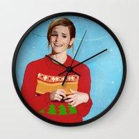 emma watson Wall Clocks featuring xmas watson by the penguin