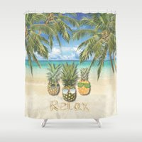 relax Shower Curtains featuring relax by ulas okuyucu
