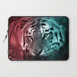 Pink & Teal Tiger in the Water Laptop Sleeve
