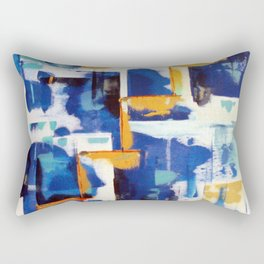 Stairway to Heaven: Abstract Acrylic Painting with blue and white and orange colors Rectangular Pillow