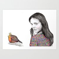 birdy Art Prints featuring Birdy by label tania
