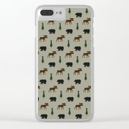 Bear Moose Lodge Clear iPhone Case
