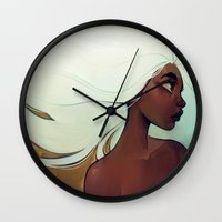 men Wall Clocks featuring glow in the dark by loish