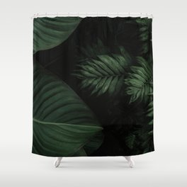 Tropical Beauty // Tropical Boho Leaves meets Minimalist Patterns Shower Curtain