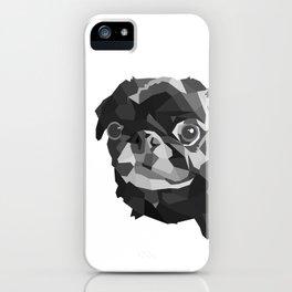 Pug Geometric art Black pugs Dog portrait Pet iPhone Case