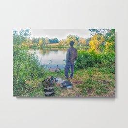 Evening Fishing at The Lake Metal Print