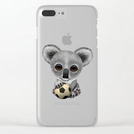 Cute Baby Koala With Football Soccer Ball Clear iPhone Case