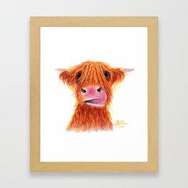 Scottish Highland Cow ' GaRLiC ' by Shirley MacArthur Framed Art Print