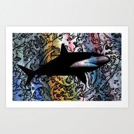 2018 Shark Painting - Color Rainbow Ocean Surveyor Art Print
