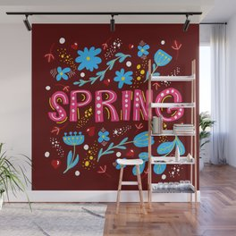 Hand drawn vector illustracion with the word spring Wall Mural