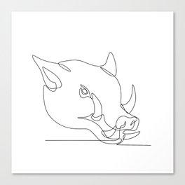 Wild Pig Head Continuous Line Canvas Print