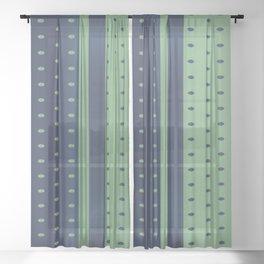 Sage Green and Slate Blue Polka Dots Sheer Curtain