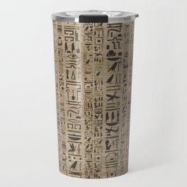 Egyptian hieroglyphs on wooden texture Travel Mug