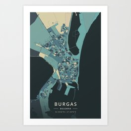 Burgas, Bulgaria - Cream Blue Art Print