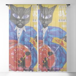 1994 Montreal Jazz Festival Cool Cat Poster No. 3 Gig Advertisement Sheer Curtain