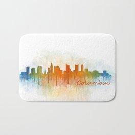 Columbus Ohio, City Skyline, watercolor  Cityscape Hq v3 Bath Mat