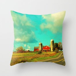 Red Barn, Blue Sky Throw Pillow