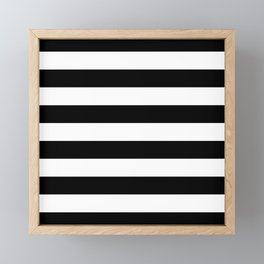 Stripe Black & White Horizontal Framed Mini Art Print