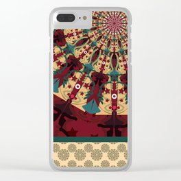 Mandala in red grená Clear iPhone Case