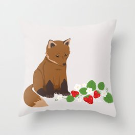 Strawberries for Fox Throw Pillow