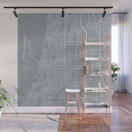 Clearwater Map, Florida USA - Pewter Wall Mural