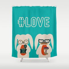 Hipster #LOVE Shower Curtain
