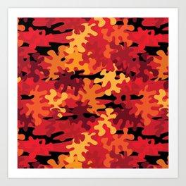 Red Orange Camo  Art Print